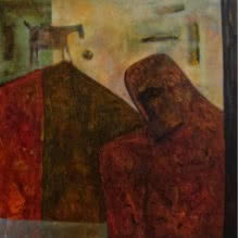 Umesh Bhoi | Oil Painting title VILLAGE MAN on Canvas | Artist Umesh Bhoi Gallery | ArtZolo.com