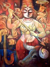 Subrata Ghosh | Acrylic Painting title Bishalakshi on Canvas | Artist Subrata Ghosh Gallery | ArtZolo.com