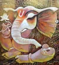 Religious Acrylic Art Painting title Ekadanta by artist Subrata Ghosh