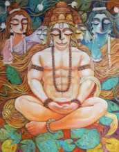 Religious Acrylic Art Painting title 'Maha Veer' by artist Subrata Ghosh