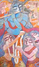 Religious Acrylic Art Painting title 'Manohara' by artist Subrata Ghosh