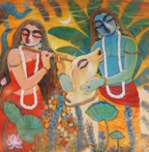 Religious Acrylic Art Painting title Nandan by artist Subrata Ghosh