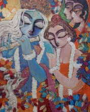 Religious Acrylic Art Painting title 'Silent Love 1' by artist Subrata Ghosh