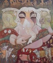 Religious Acrylic Art Painting title 'Tune Of Divine' by artist Subrata Ghosh