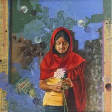 Traditionally Modern | Painting by artist Nitin Marde | acrylic-oil | Canvas