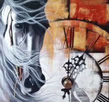 Mithu Biwas | Acrylic Painting title Chasing the time12 on Canvas | Artist Mithu Biwas Gallery | ArtZolo.com