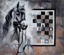 Horse In Chess11 | Painting by artist Mithu Biwas | acrylic | Canvas
