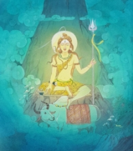 Religious Watercolor Art Painting title Lord Shiva 2 by artist Rina Roy