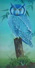 Animals Watercolor Art Painting title Owl by artist Rina Roy