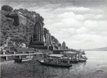 Maheshwari Ghat | Drawing by artist Prakash  Ghadge |  | ink | Paper