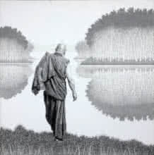 Pen-ink Paintings | Drawing title Monk 17 Ii on Canvas | Artist Prakash Ghadge