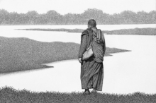 Religious Pen-ink Art Drawing title 'Monk 19 Il' by artist Prakash Ghadge