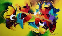 contemporary Acrylic Art Painting title Joy Of Music 23 by artist Ranjit Singh Kurmi