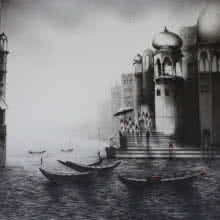 Cityscape Charcoal Art Drawing title 'Banaras Ghat' by artist Yuvraj Patil
