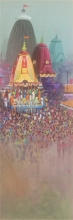 Religious Acrylic Art Painting title Rathyatra 3 by artist Amol Satre