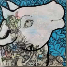 Kamadhenu 1 | Painting by artist Ramesh Gorjala | acrylic | Canvas