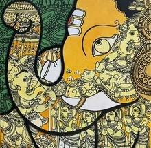 Religious Acrylic Art Painting title Ganesha ( Vighnaharta ) by artist Ramesh Gorjala
