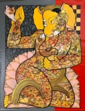 art, painting, acrylic, canvas, religious, lord ganesha