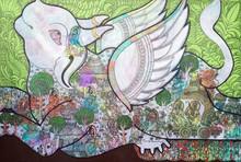 Religious Mixed-media Art Painting title Kamadhenu by artist Ramesh Gorjala