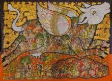 Kamadhenu (Sacred Cow)   Painting by artist Ramesh Gorjala   acrylic   Canvas