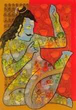 Religious Mixed-media Art Painting title Lord Shankar by artist Ramesh Gorjala