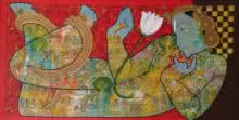 Vishnu | Painting by artist Ramesh Gorjala | mixed-media | Canvas