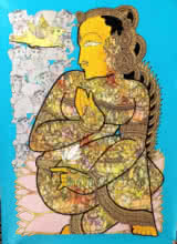 art, painting, acrylic, canvas, religious, lord vishnu