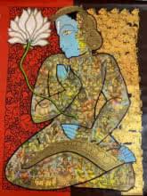 Vishnu With Lotus | Painting by artist Ramesh Gorjala | acrylic | Canvas