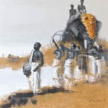 Figurative Acrylic Art Painting title Elephant Procession 1 by artist Pankaj Bawdekar