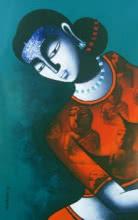 Figurative Acrylic Art Painting title 'Celestial Beauty in Memory Of Harappa 2' by artist Pratiksha Bothe