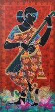 Religious Acrylic Art Painting title 'Saraswati' by artist Pratiksha Channekar
