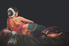Pencil Paintings | Drawing title Lady Lying On Bed on Paper | Artist Parshuram Patil