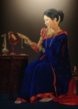 Realistic Color-pencil Art Drawing title Mrunal by artist Parshuram Patil