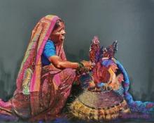 Realistic Color-pencil Art Drawing title Pilligrim by artist Parshuram Patil