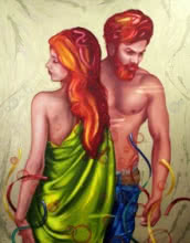 Fantasy Oil Art Painting title 'Soulmates 10' by artist Ankur Rana