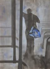 Figurative Watercolor Art Painting title 'Standing In Bus' by artist Manish Sutar