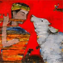 Figurative Acrylic Art Painting title Murli And Cow by artist Raju Terdals