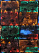 Village On Night-2.   Painting by artist Raju Terdals   acrylic   Canvas