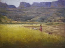 Landscape Oil Art Painting title 'Field 2' by artist Uday Farat