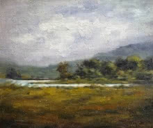 Landscape Oil Art Painting title 'Field 3' by artist Uday Farat