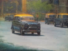 Cityscape Oil Art Painting title 'Yellow Black 2' by artist Uday Farat