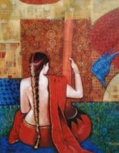 Figurative Acrylic Art Painting title 'Sadhana' by artist Apurba Karati