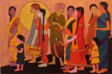 Temple Surrounding | Painting by artist Rahul Mhetre | acrylic | Canvas