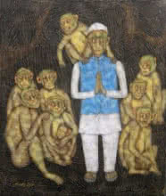 Figurative Tempera Art Painting title 'Monkey whoops' by artist Sudip Das