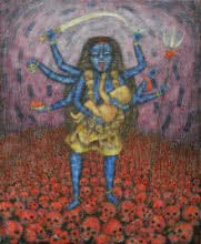 Religious Tempera Art Painting title 'Maa' by artist Sudip Das