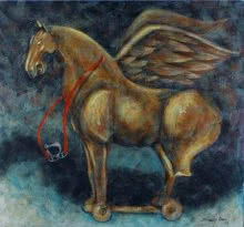 Animals Tempera Art Painting title 'The Rocking Horse' by artist Sudip Das