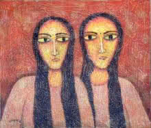 Twin | Painting by artist Sudip Das | tempera | Canvas