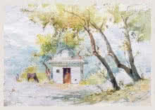 Temple | Painting by artist Swapnil Mhapankar | watercolor | Handmade Paper