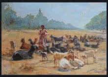 Dhangar-lady | Painting by artist Swapnil Mhapankar | acrylic | Canvas