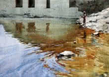 Landscape Watercolor Art Painting title 'River' by artist Swapnil Mhapankar
